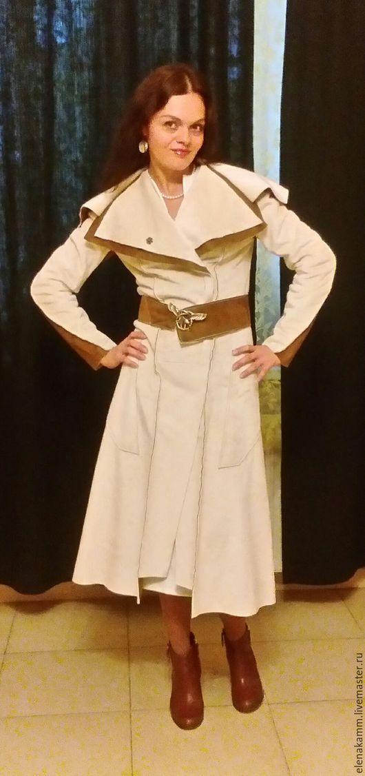 Верхняя одежда ручной работы. Ярмарка Мастеров - ручная работа. Купить Пальто- тонкая дубленка Светлая. Handmade. Пальто