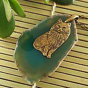 Украшения ручной работы. Ярмарка Мастеров - ручная работа Подвеска Зеленоглазый кот (зеленый срез агата). Handmade.