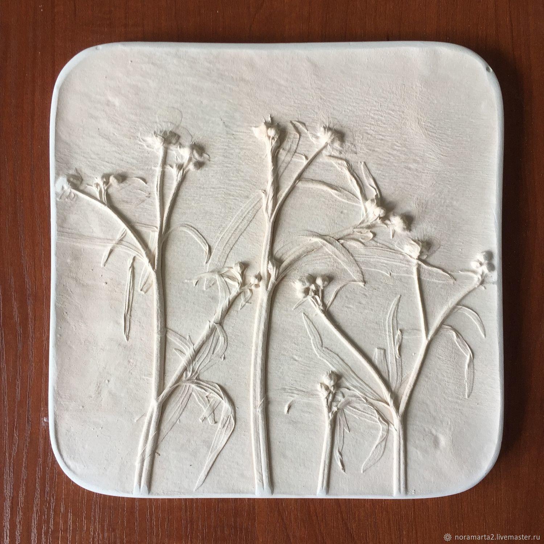 Гипсовое панно Отливки цветов Оттиски цветов Ботанический барельеф Панно для интерьера Картины цветов