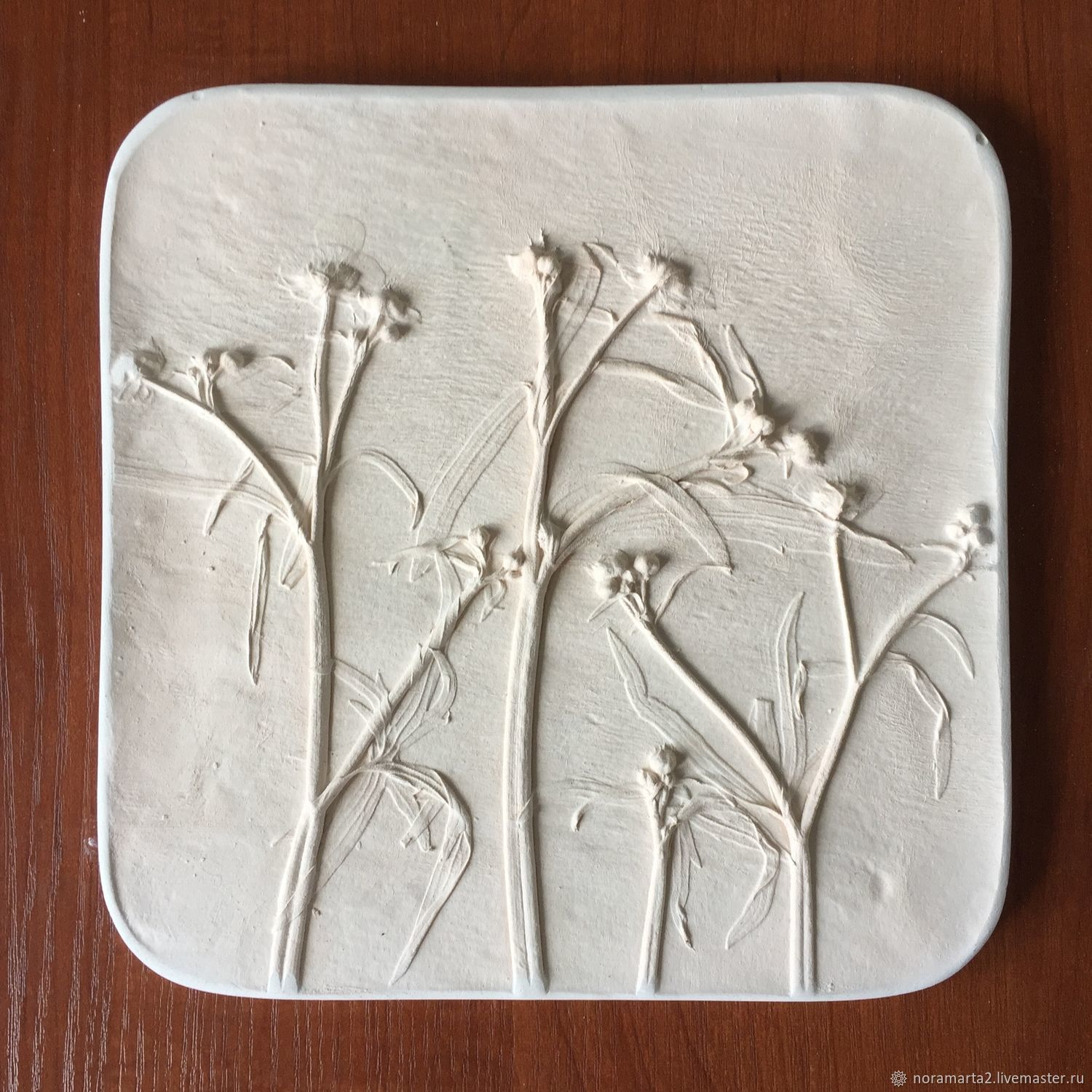Gypsum panels Casting flower Prints flower Botanical bas-relief Panels for the interior Painting colors