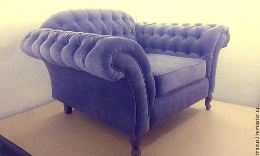 Мебель ручной работы. Ярмарка Мастеров - ручная работа. Купить Кресло. Handmade. Фиолетовый, каретная стяжка, мягкая мебель, честер
