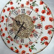 """Для дома и интерьера ручной работы. Ярмарка Мастеров - ручная работа Настенные часы декупаж """"Маки"""". Handmade."""