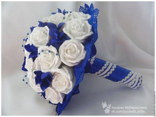 Цветы ручной работы. Ярмарка Мастеров - ручная работа. Купить Бело-синий букет невесты. Handmade. Бело-синий