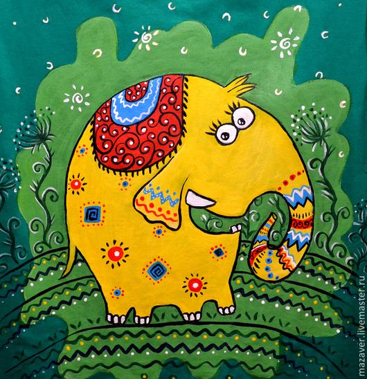 """Футболки, майки ручной работы. Ярмарка Мастеров - ручная работа. Купить Футболка """"Слоник"""". Handmade. Зеленый, желтый, слоненок"""