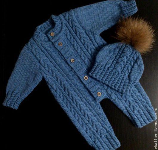 Одежда ручной работы. Ярмарка Мастеров - ручная работа. Купить Комбинезон и шапочка для мальчика. Handmade. Голубой, комбинезон детский