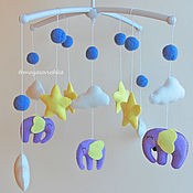 Подарки к праздникам handmade. Livemaster - original item The mobile in the crib felt - Elephants. Handmade.