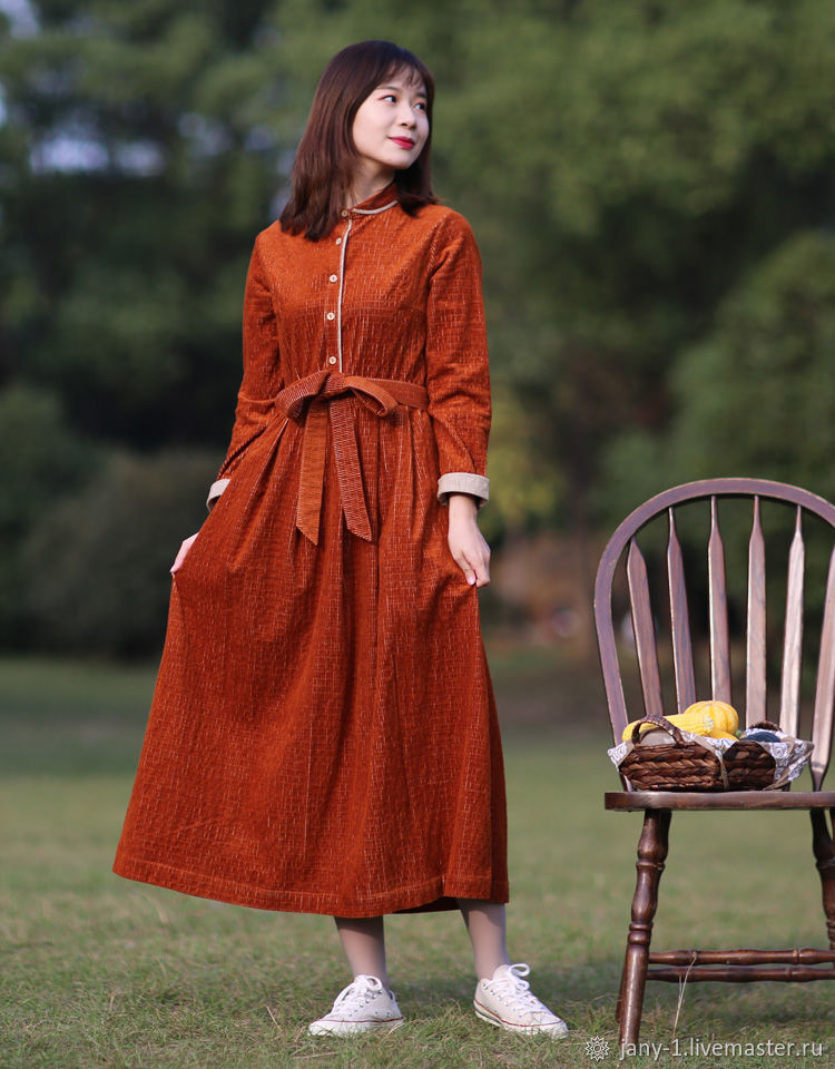 Оригинальное длинное платье Caramel Corduroy Slim Fit, Юбки, Гуанчжоу,  Фото №1