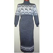 Одежда handmade. Livemaster - original item Maxi dress with knitted reindeer feeding (direct. Handmade.
