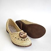 Обувь ручной работы handmade. Livemaster - original item Ballerinas knitted with a button, beige cotton. Handmade.
