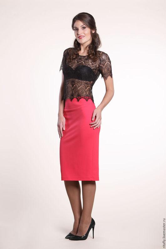 классическая женская юбка карандаш из джерси. юбка до колена, юбка зауженная к низу. Офисная юбка