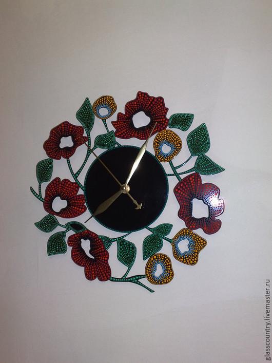 """Часы для дома ручной работы. Ярмарка Мастеров - ручная работа. Купить Часы настенные """"Маки"""" Точечная роспись.. Handmade."""