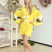 Одежда handmade. Livemaster - original item The jumpsuit is bright yellow with white and black embroidery. Handmade.