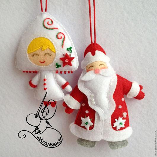 Новый год 2017 ручной работы. Ярмарка Мастеров - ручная работа. Купить Дед мороз и снегурочка из фетра. Handmade. Комбинированный, снегурочка