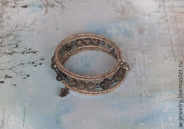 Bracelet winding 5 turns of the Topaz and marble beads, Bead bracelet, Moscow,  Фото №1