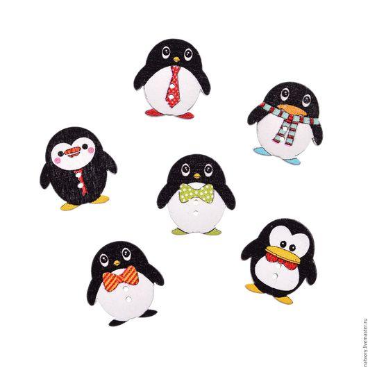 Шитье ручной работы. Ярмарка Мастеров - ручная работа. Купить Пуговицы деревянные «Пингвины». Handmade. Разноцветный, пуговицы декоративные