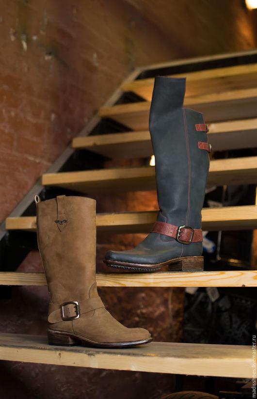 Обувь ручной работы. Ярмарка Мастеров - ручная работа. Купить Сапожки женские из натуральной кожи. Handmade. Натуральная кожа, байкер