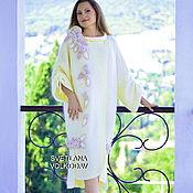 """Одежда ручной работы. Ярмарка Мастеров - ручная работа Пальто вязаное """"Водопад из роз"""" в молочном цвете. Handmade."""