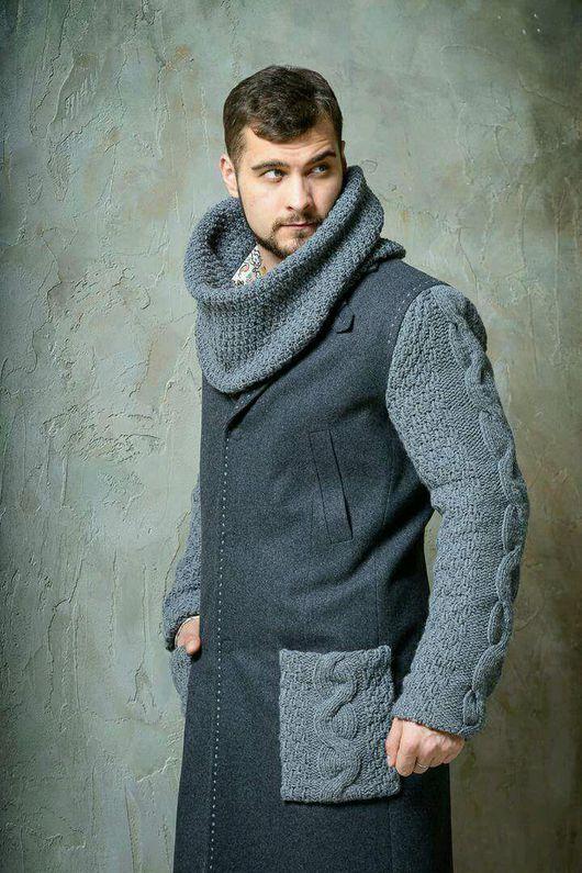 Верхняя одежда ручной работы. Ярмарка Мастеров - ручная работа. Купить Пальто мужское с элементами ручной вязки. Handmade.