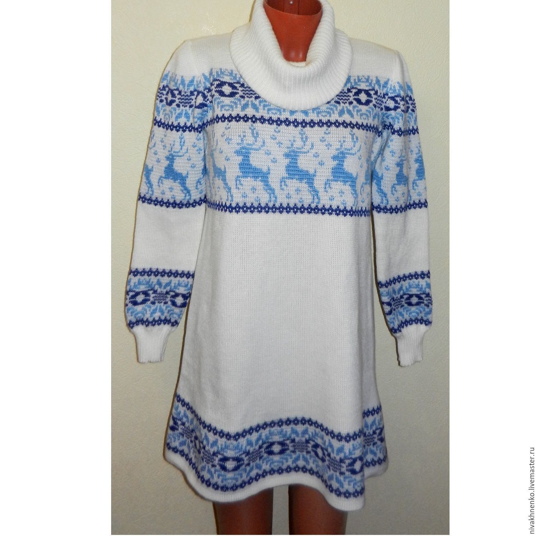 Платья ручной работы. Ярмарка Мастеров - ручная работа. Купить Платье с  оленями и норвежским ... 7f2172266a1