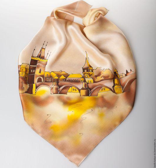 """Шали, палантины ручной работы. Ярмарка Мастеров - ручная работа. Купить Батик шелковый платок """"Путешествие. Прага золотая"""". Handmade."""