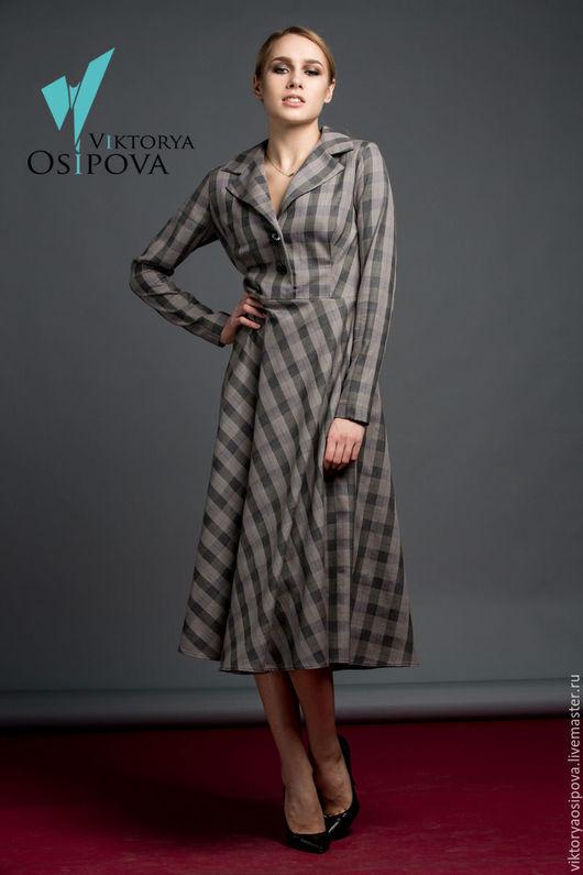 Платья ручной работы. Ярмарка Мастеров - ручная работа. Купить Уютное платье в клетку. Handmade. Серый, платье в клетку