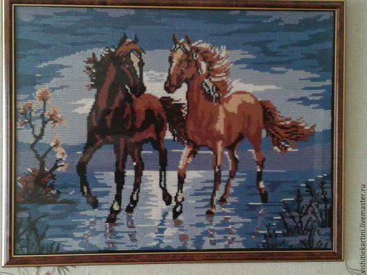 Животные ручной работы. Ярмарка Мастеров - ручная работа. Купить Лошади на ветру. Handmade. Закат, вышивка, небо, ночь, гармония