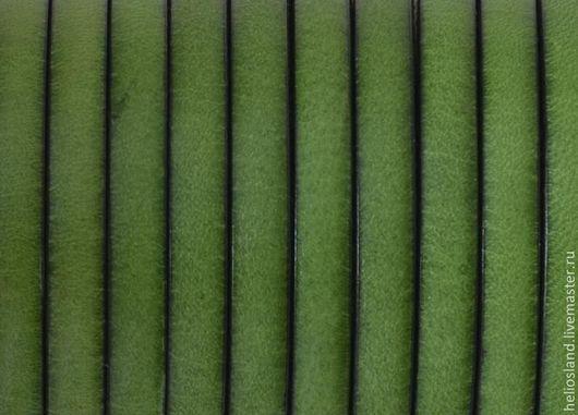 Для украшений ручной работы. Ярмарка Мастеров - ручная работа. Купить Кожаный шнур плоский 5 мм травяной. Handmade.