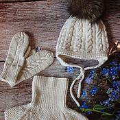Работы для детей, handmade. Livemaster - original item Knit kit. Set cap and scarf. Knitted bib.. Handmade.