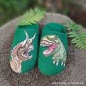 Тапочки ручной работы. Ярмарка Мастеров - ручная работа Тапочки: Динозавры. Handmade.
