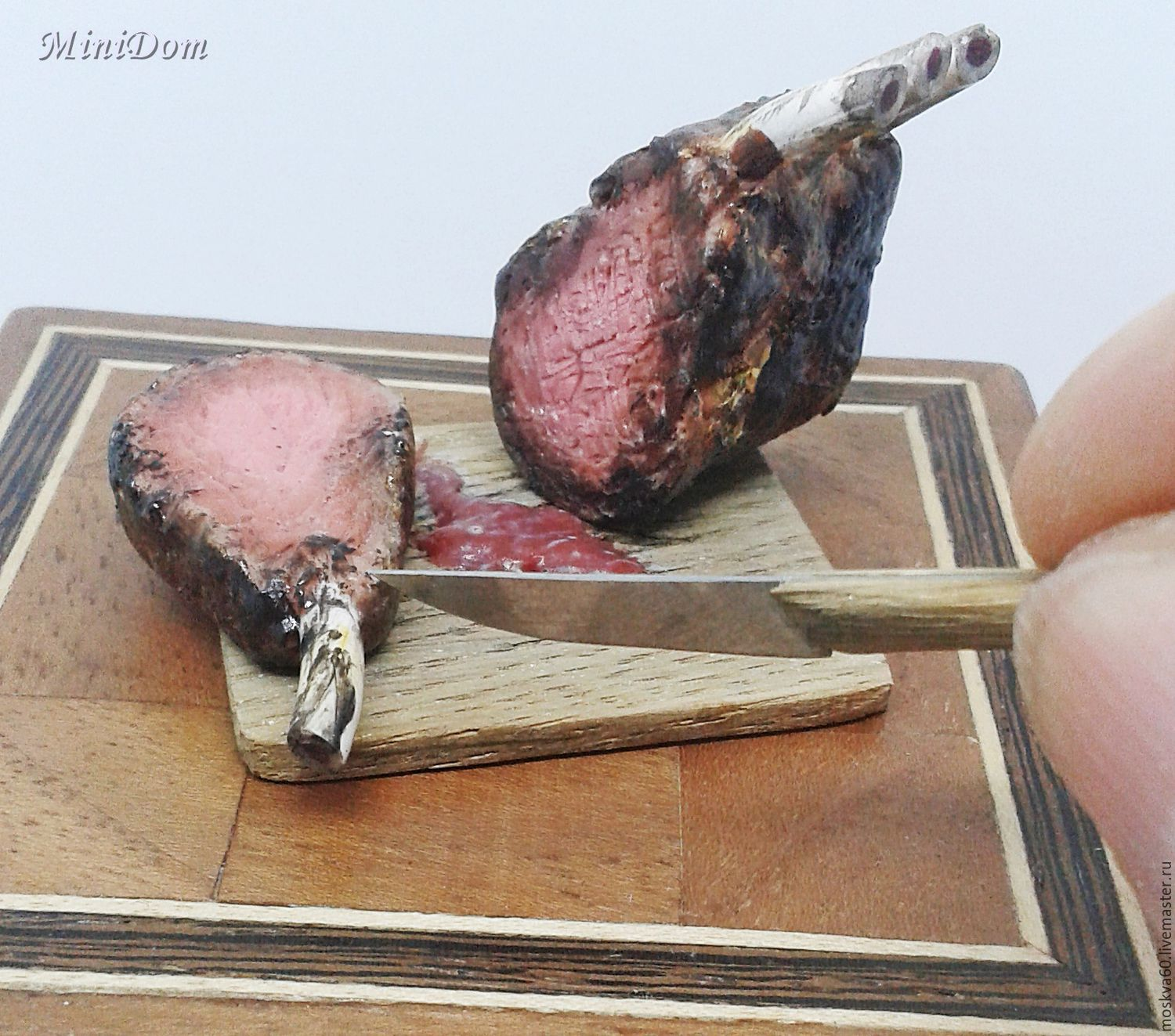 Food for dollhouse -meat on the bone for dollhouse miniature, Doll food, Moscow,  Фото №1