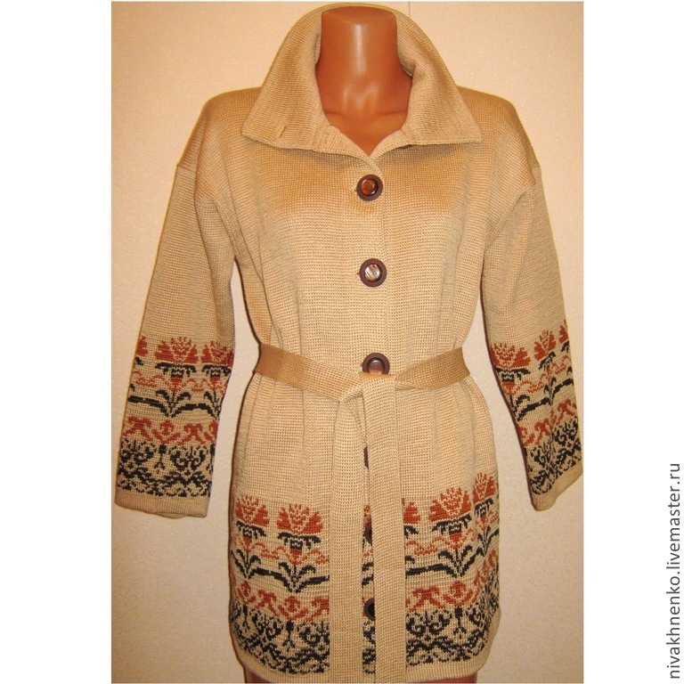 Women's knitted coat with floral ornaments, Coats, Moscow,  Фото №1