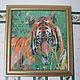 """Животные ручной работы. Ярмарка Мастеров - ручная работа. Купить Картина """"Тигр""""  бисер. Handmade. Зеленый, животные, Японский бисер"""