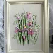 Картины и панно handmade. Livemaster - original item Irises. Embroidered flower pattern: embroidery with threads, ribbons, beads. Handmade.