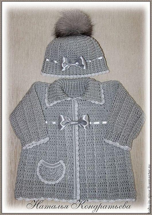 Одежда для девочек, ручной работы. Ярмарка Мастеров - ручная работа. Купить Кофта и шапка - комплект для девочки. Handmade. Серый