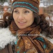 Аксессуары handmade. Livemaster - original item Set scarf,hat Chocolate boho. Handmade.