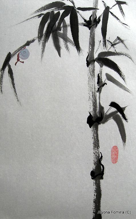 Пейзаж ручной работы. Ярмарка Мастеров - ручная работа. Купить Улитка. Handmade. Чёрно-белый, картина, рисовая бумага, акварель