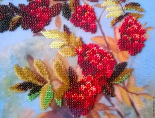 """Картины цветов ручной работы. Ярмарка Мастеров - ручная работа. Купить Картина из бисера """"Рябина"""" вышивка. Handmade. Коралловый, картина"""