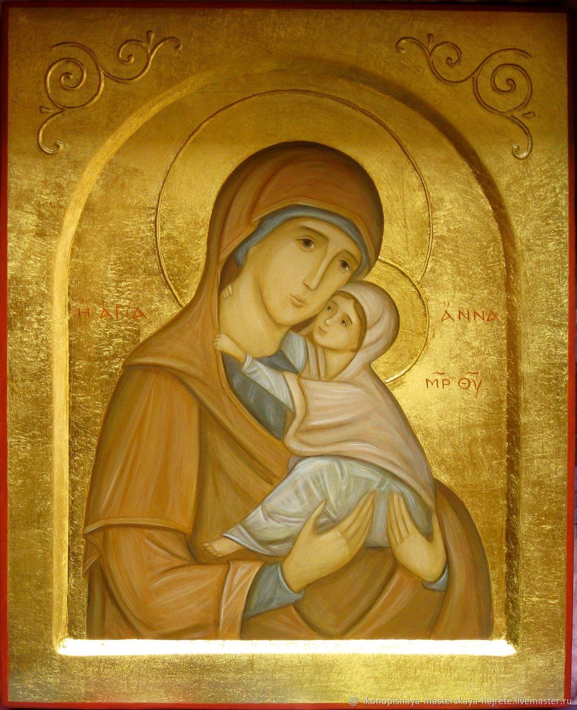 Святая Анна и Богородица. Рукописная икона, Иконы, Санкт-Петербург, Фото №1