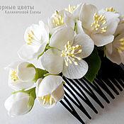 """Свадебный салон ручной работы. Ярмарка Мастеров - ручная работа Гребень для свадебной прически """"Белый жасмин"""". Handmade."""