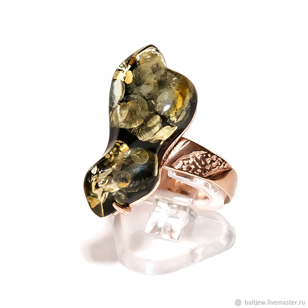 Silver ring with green amber 'Serenade'. Gilded, Rings, Moscow,  Фото №1