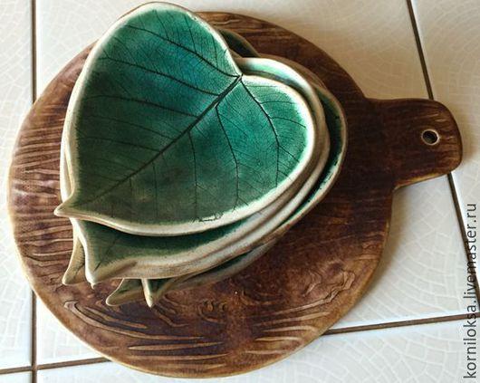 Тарелки ручной работы. Ярмарка Мастеров - ручная работа. Купить Листики керамические. Handmade. Зеленый, сделано с любовью, фаянс