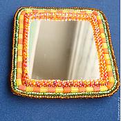 Сувениры и подарки ручной работы. Ярмарка Мастеров - ручная работа Зеркальце Яблочный и медовый - зеркало ручной работы, бисерное зеркало. Handmade.