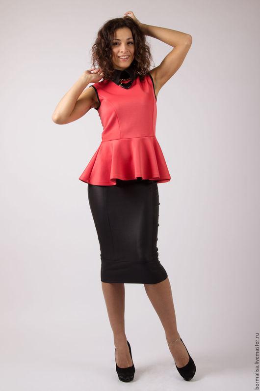 Блузки ручной работы. Ярмарка Мастеров - ручная работа. Купить Блуза с баской. Handmade. Коралловый, блуза, блуза с баской