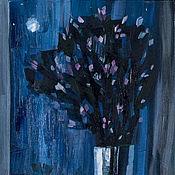 Картины ручной работы. Ярмарка Мастеров - ручная работа «Лунный багульник» Картина натюрморт маслом цветы ночь. Handmade.