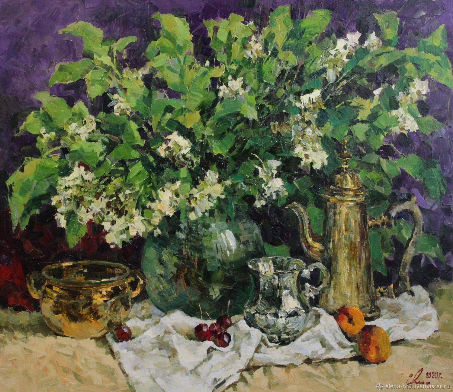 """A painting """"The bouquet of bird-cherry flowers"""", Pictures, St. Petersburg,  Фото №1"""