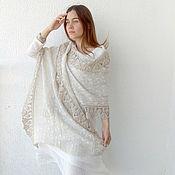Аксессуары handmade. Livemaster - original item Summer linen stole with embroidery and knitted border. Handmade.