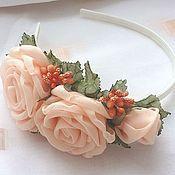 handmade. Livemaster - original item Headband with peach roses. Handmade.