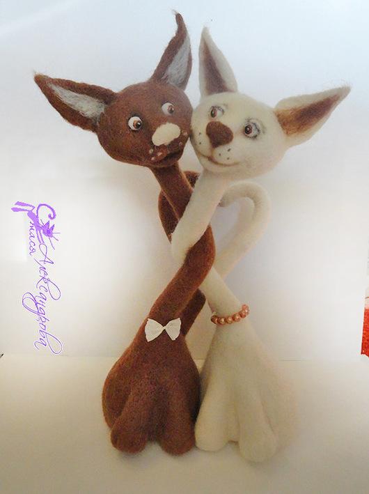 Игрушки животные, ручной работы. Ярмарка Мастеров - ручная работа. Купить Валяные кофейные коты - Влюбленные котики. Handmade.
