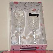 Свадебный салон ручной работы. Ярмарка Мастеров - ручная работа Свадебные бокалы + коробочка для хранения бокалов. Handmade.