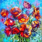 """Картины и панно handmade. Livemaster - original item Картина масло цветы """"Абстракция с маками"""". Handmade."""